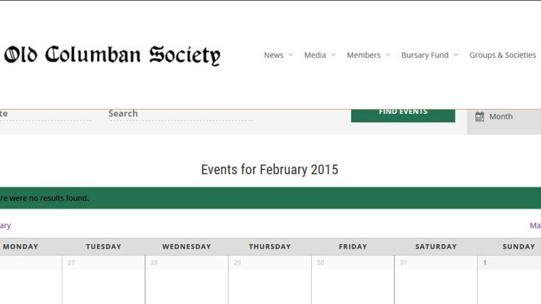 Old Columban society-private-calender-Smiling Spiders Web design and website development