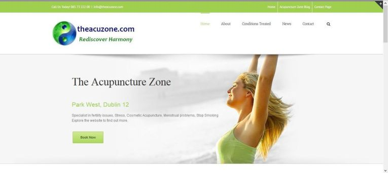 Acupuncture website created by the Irish website design company Smiling Spiders